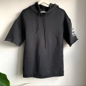 Reebok black ribbed modified shirt sleeve hoodie
